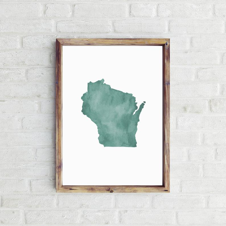Wisconsin Watercolor Print Traveldashery on Etsy