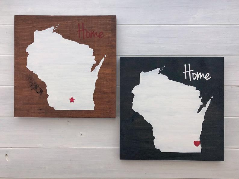 Wisconsin Wood Wall Art RusticStrokes on Etsy