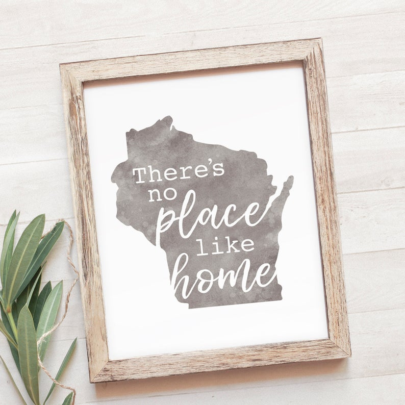 Printable Wisconsin Wall Art LemonadeDesignStudio on Etsy