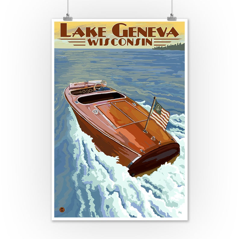 Lake Geneva Vintage Style Travel Poster LanternPressArtwork on Etsy
