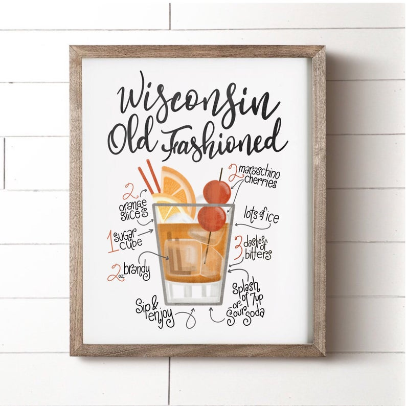 Wisconsin Old Fashioned Wall Art Print HouseFenway on Etsy