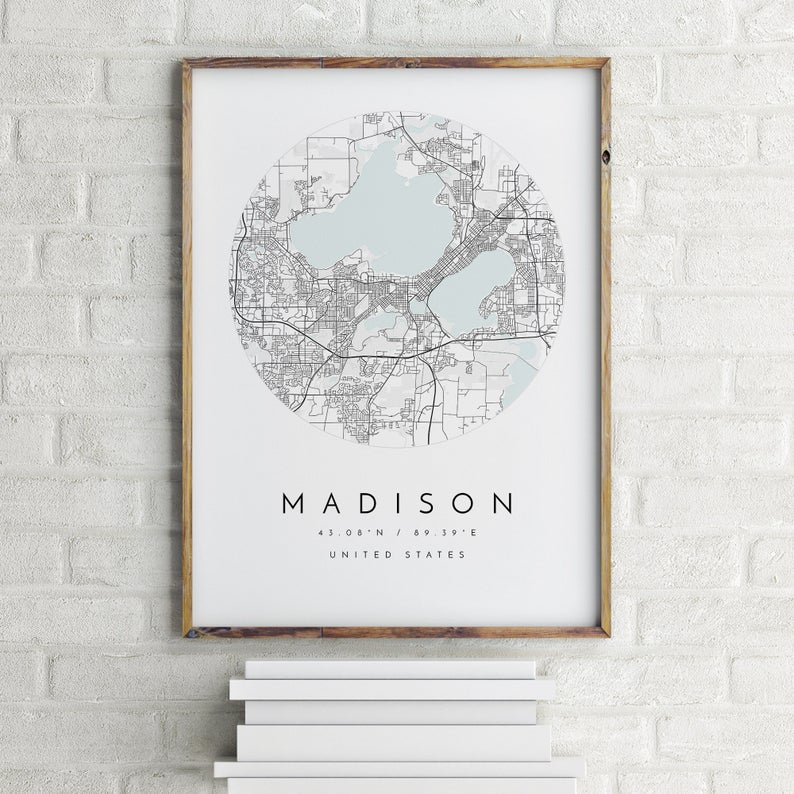 City of Madison WI Map Print mapologist on Etsy