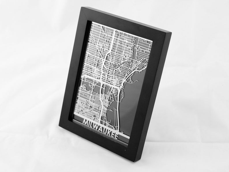 Milwaukee Stainless Steel Laser Cut Map CutMaps on Etsy