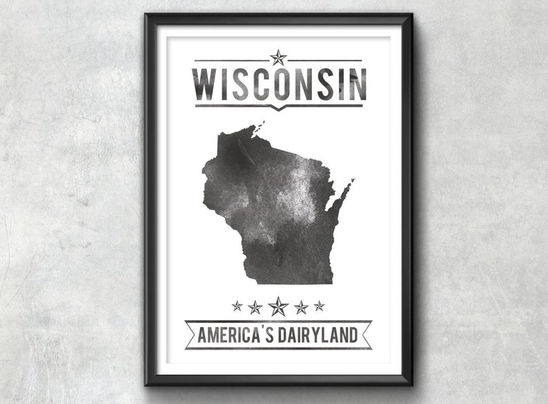 Wisconsin State Typography Print IdeateCreateStudio on Etsy