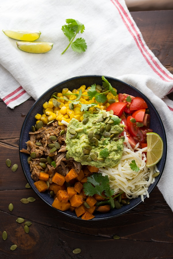 Fall Burrito Bowls with Maple Pork Sweet Potatoes and Pepitas Sweet Peas and Saffron