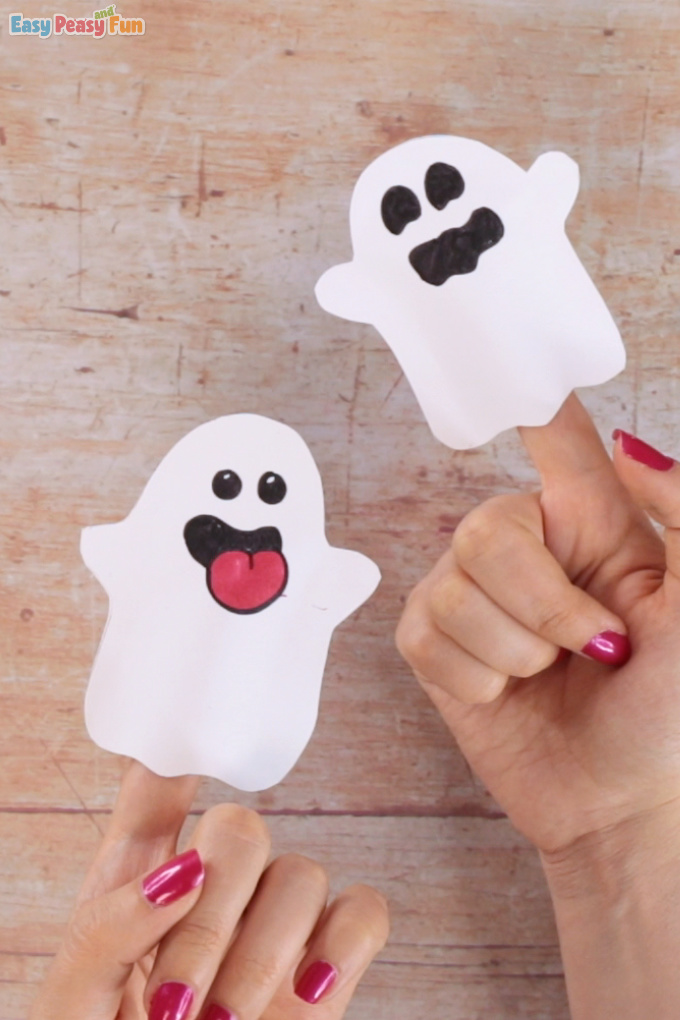 Ghost Paper Finger Puppet Easy Peasy and Fun