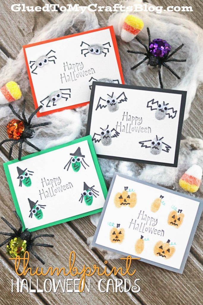 Halloween Thumbprint Cards Glued to My Crafts Blog