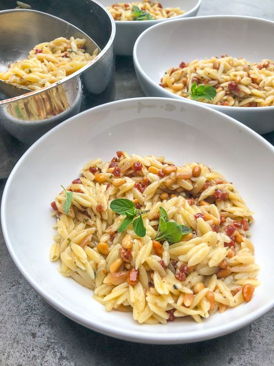 Orzo with Pancetta and Pine Nuts Shutterbean