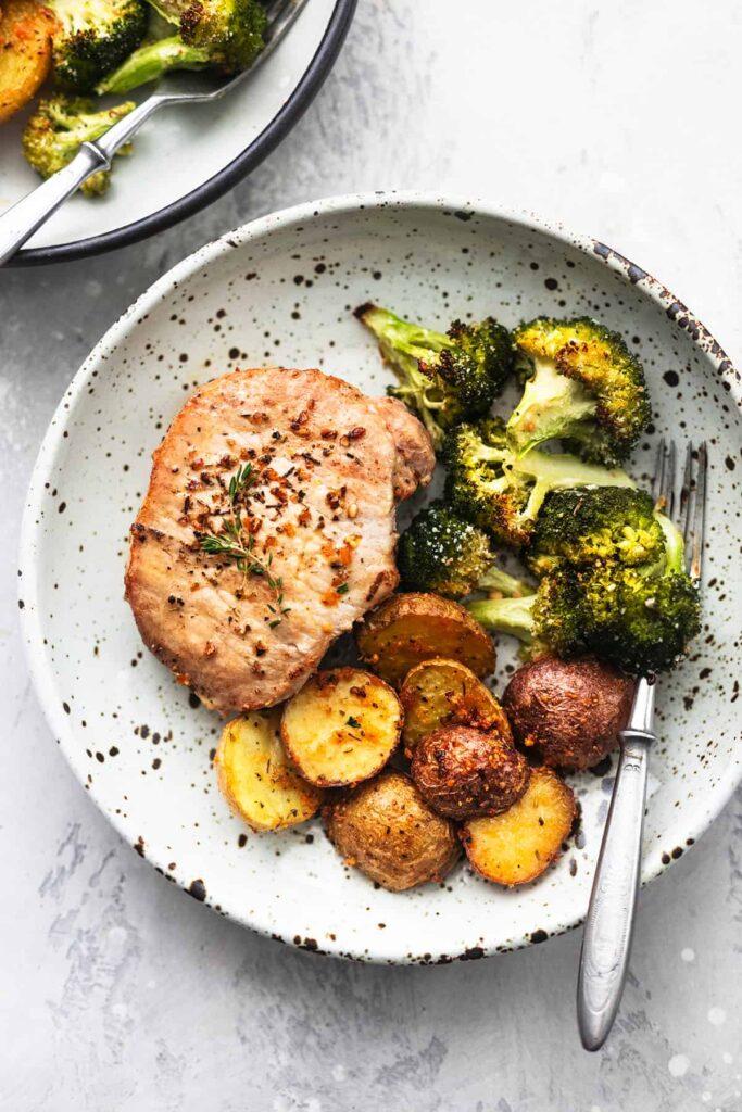 Sheet Pan Pork Chops with Potatoes and Broccoli Creme de la Crumb