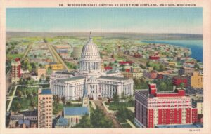 Vintage Postcard Madison Capitol As Seen From Airplane