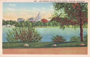 Vintage Postcard Madison Lake Monona and the State Capitol