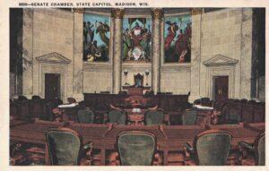 Vintage Postcard Madison State Capitol Senate Chamber