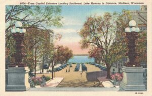 Vintage Postcard Madison State From Capitol Entrance Looking Southeast, Lake Monona in Distance