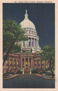 Vintage Postcard Madison Wisconsin State Capitol Dome at Night 2
