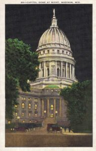 Vintage Postcard Madison Wisconsin State Capitol Dome at Night