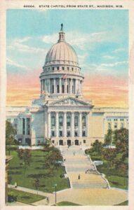 Vintage Postcard Madison Wisconsin State Capitol From State Street