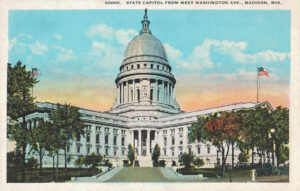 Vintage Postcard Madison Wisconsin State Capitol From West Washington Avenue