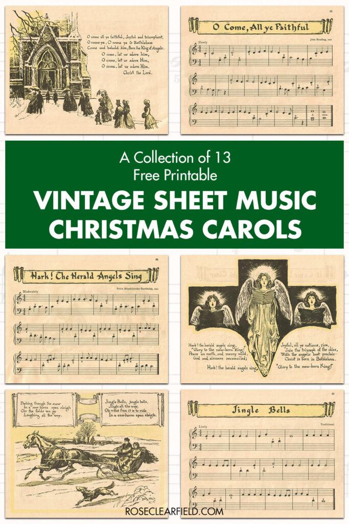 A Collection of 13 Free Printable Vintage Sheet Music Christmas Carols