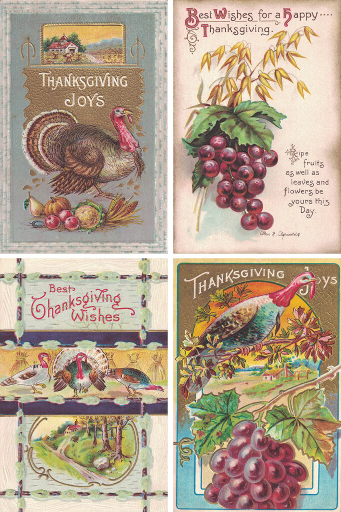 Free Printable Vintage Thanksgiving Postcards Collage