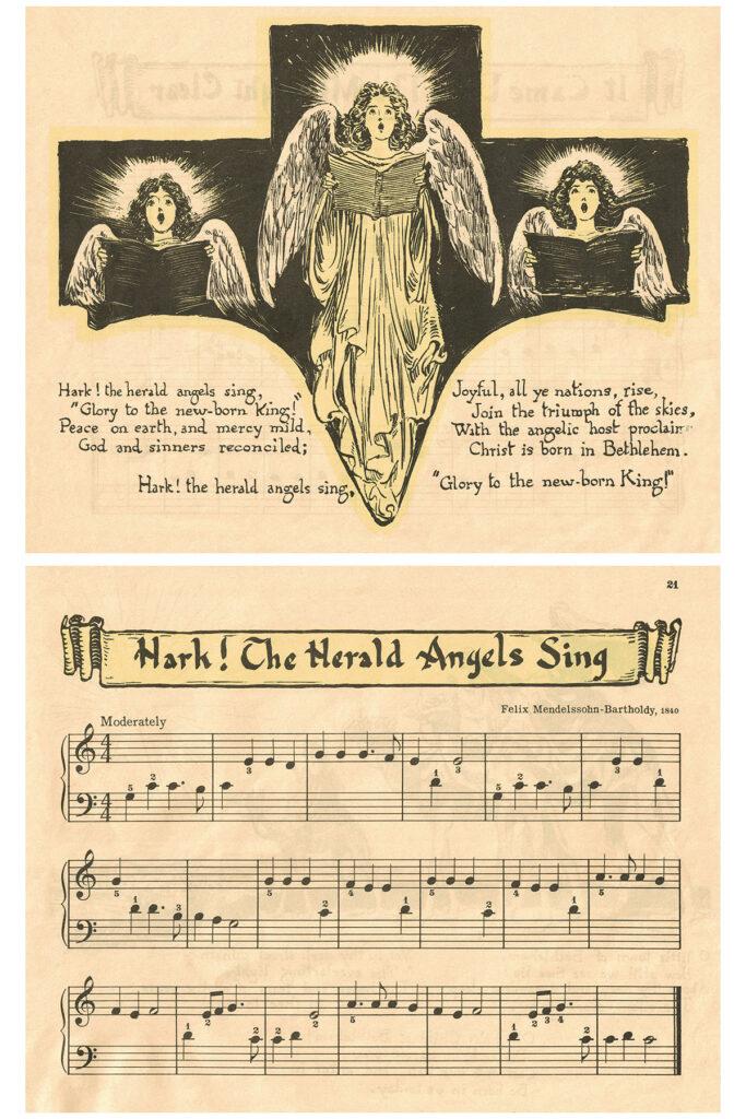 Vintage Beginner Piano Christmas Carols Hark the Herald Angels Sing Preview