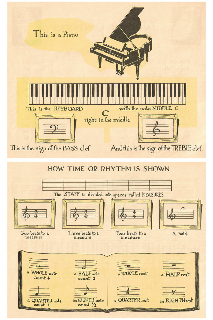Vintage Beginner Piano Christmas Carols Music Piano Basics Preview