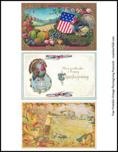 Vintage Thanksgiving Postcards 8.5x11 Page