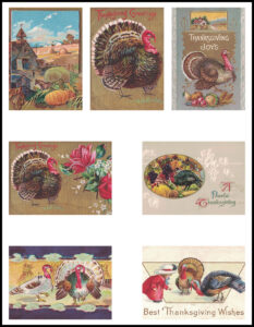Vintage Thanksgiving Postcards ATC Size Page Preview