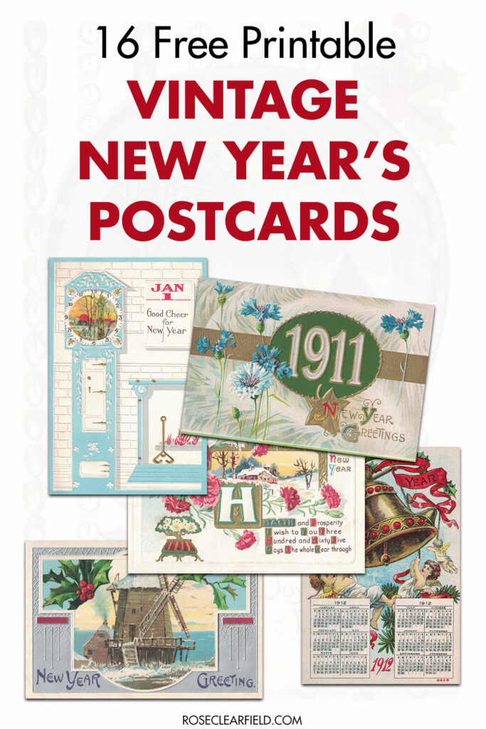 16 Free Printable Vintage New Year's Postcards