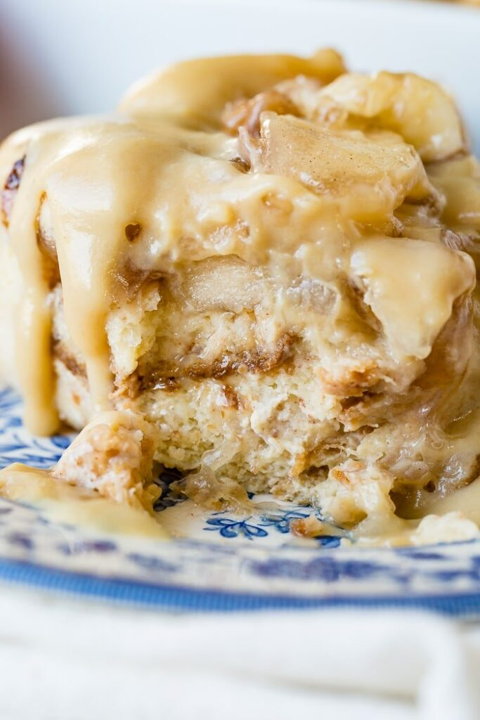 Apple Pie Bread Pudding with Vanilla Sauce Oh Sweet Basil