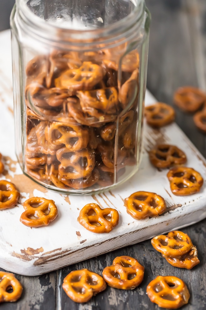 Butter Toffee Pretzels Simply Sated