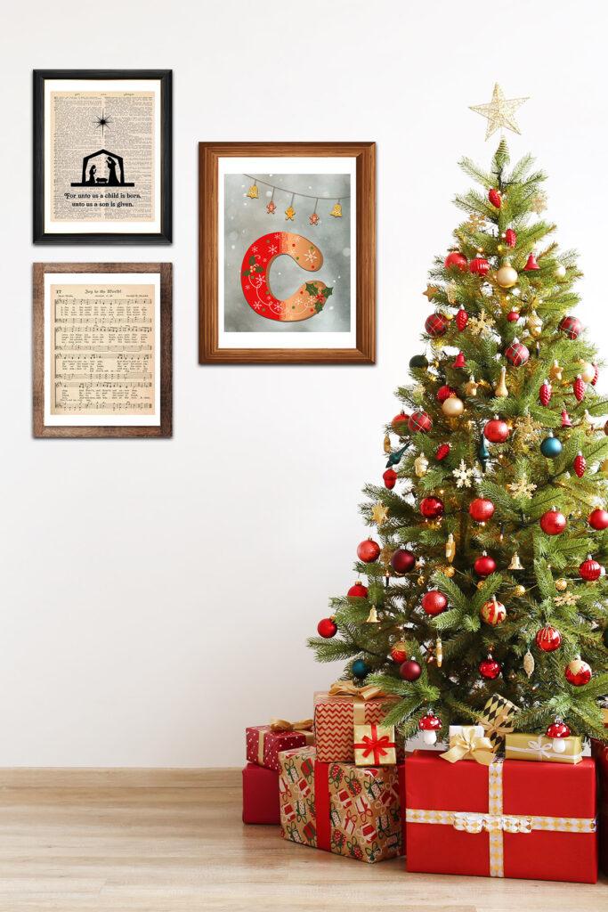 Christmas Framed Art in Living Room