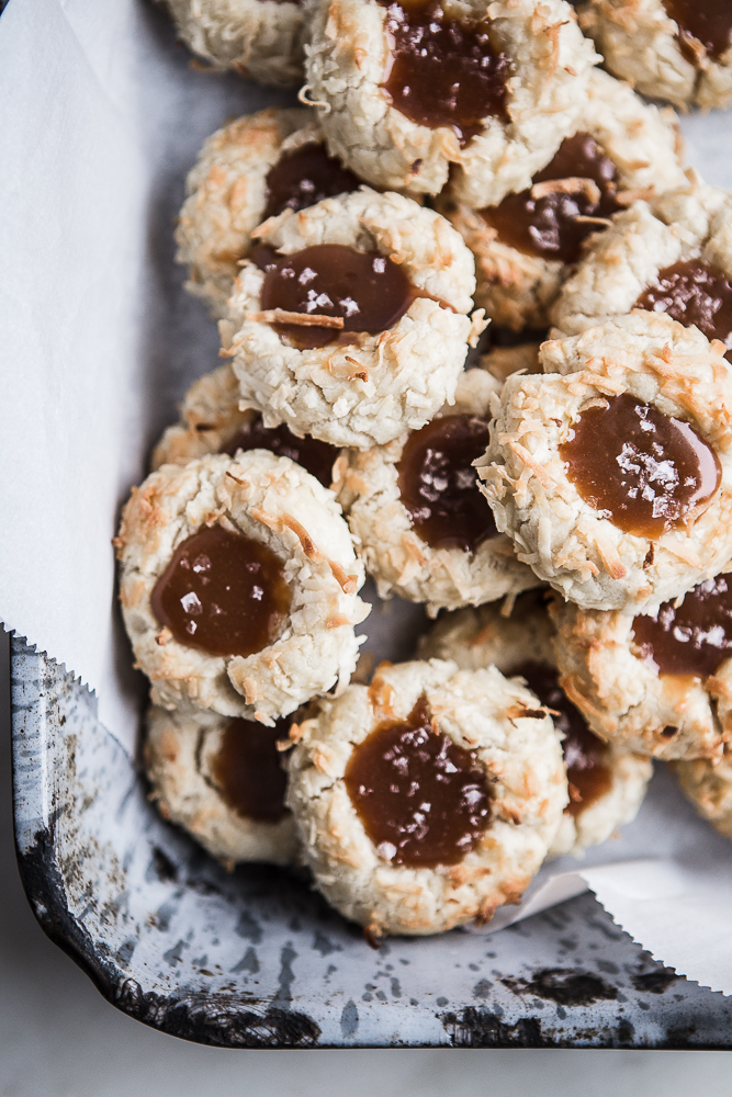 Coconut Thumbprint Cookies with Salted Caramel The Modern Proper