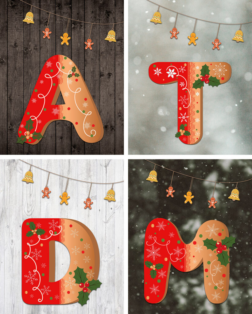 Free Printable Gingerbread Holiday Initial Letter Prints Collage