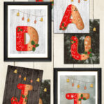 Free Printable Gingerbread Holiday Initial Letter Prints on Light Wood