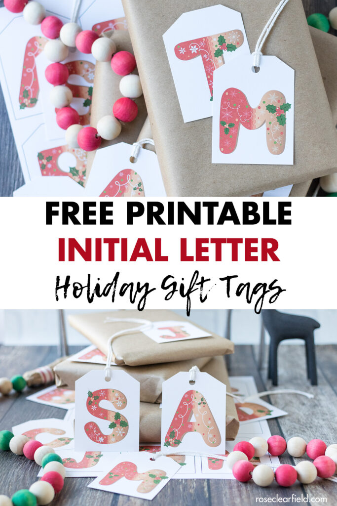 Free Printable Initial Letter Holiday Gift Tags