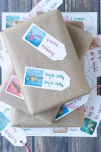 Free Printable Watercolor Presents Christmas Gift Tags