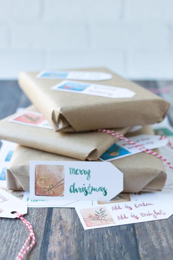 Free Printable Watercolor Presents Holiday Gift Tags