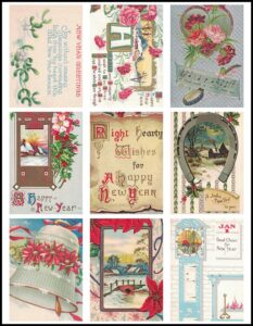 Vintage New Year's Postcards ATC Size Preview