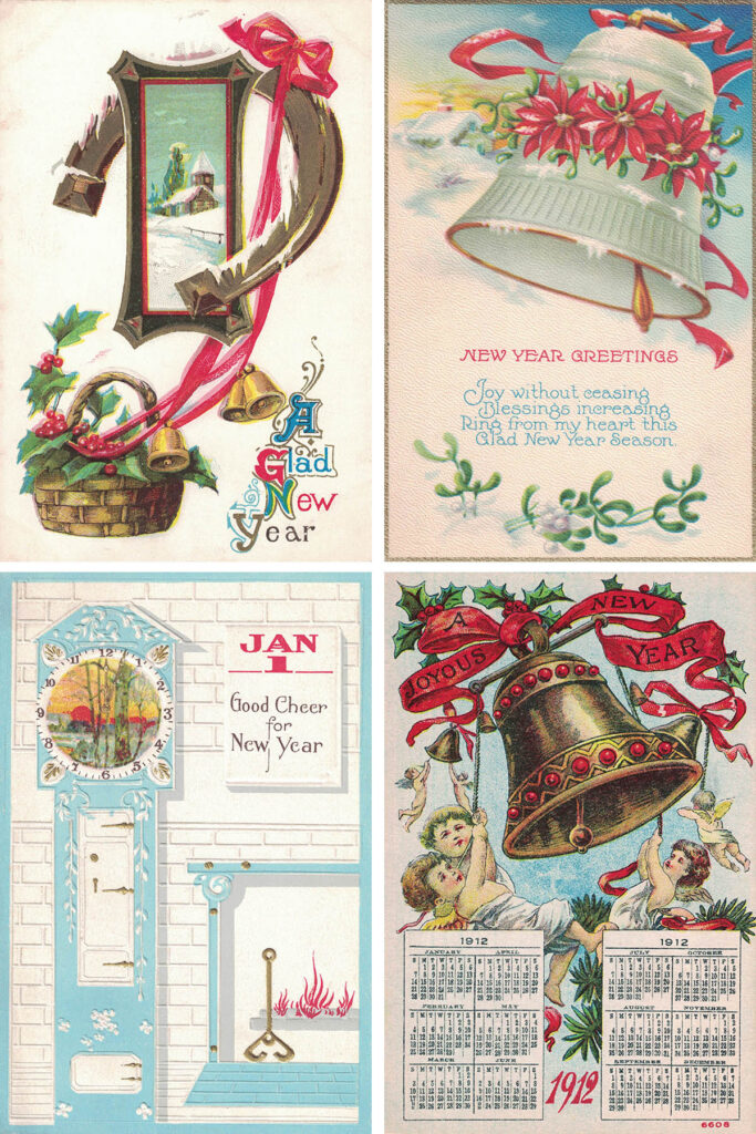 Vintage New Year's Postcards Collage