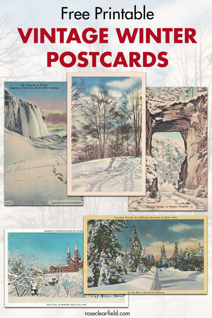Free Printable Vintage Winter Postcards