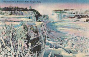 Vintage Postcard Niagara Falls Winter Scene of Niagara Falls