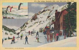 Vintage Postcard Salt Lake City Utah The Lodge Romantic Alta
