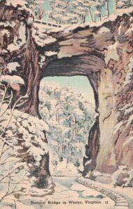 Vintage Postcard Virginia Natural Bridge in Winter
