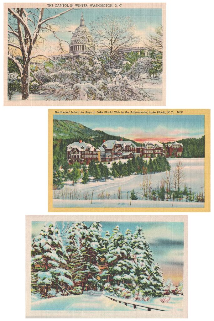 Vintage Postcards Winter Collage
