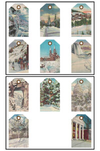Vintage Postcards Winter Journal Tags 8.5x11 Pages Preview