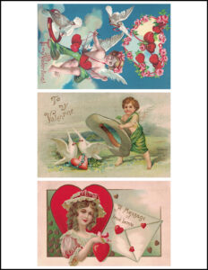 Vintage Valentine's Day Postcards 8.5x11 Pages