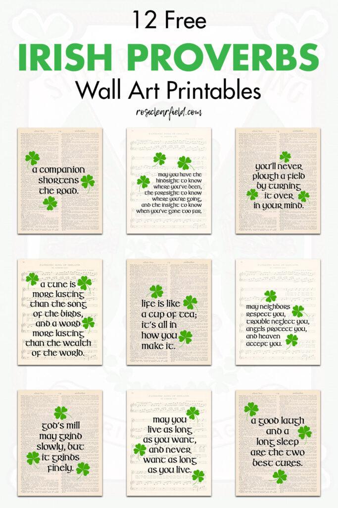 12 Free Irish Proverbs Wall Art Printables