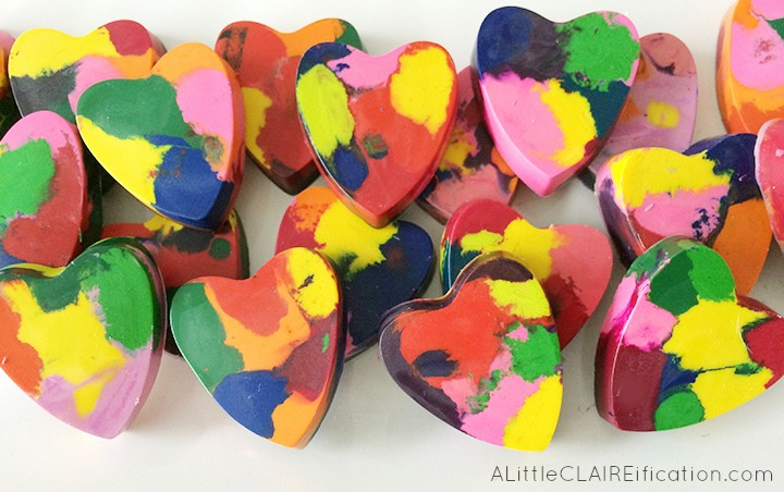 DIY Melted Heart Shaped Crayons A Little Claireification