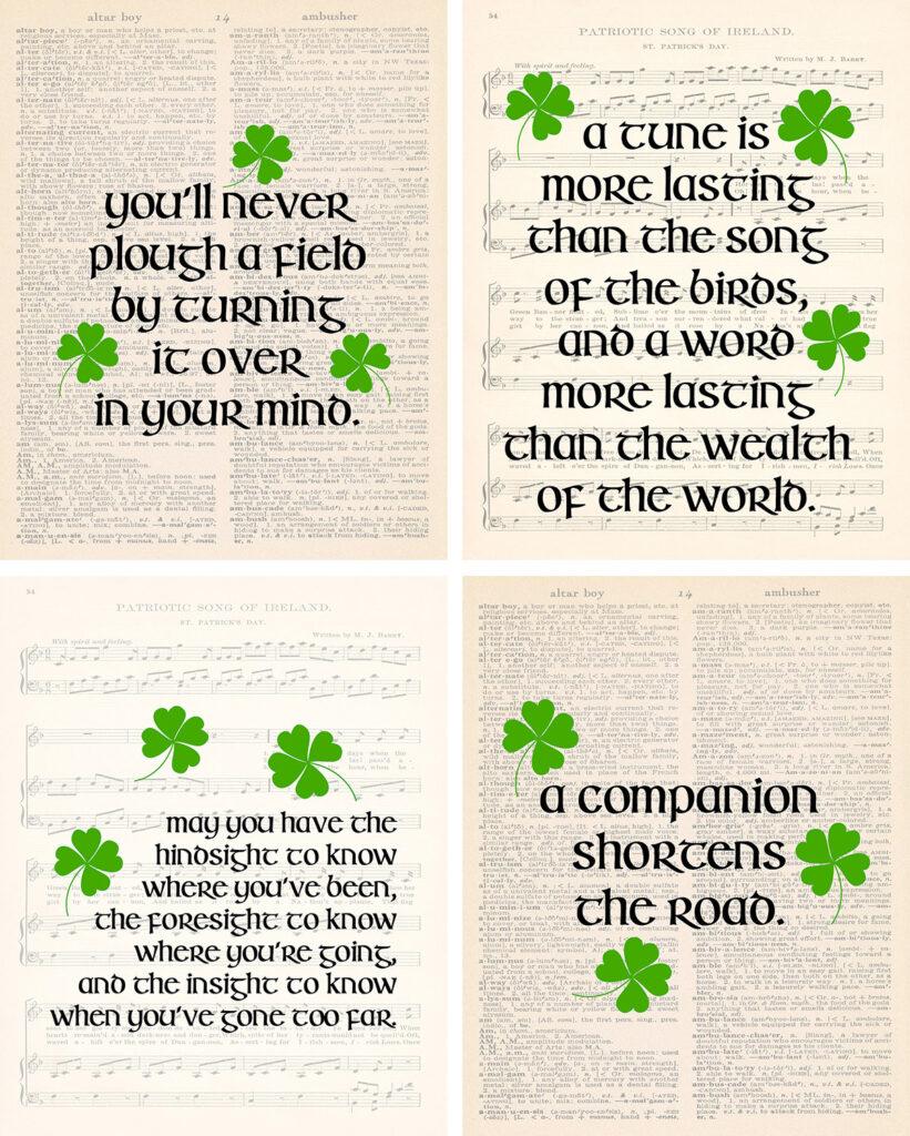 Free Printable Irish Proverbs Wall Art Collage
