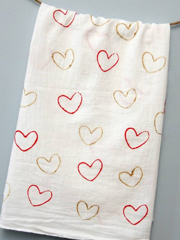 Heart Stamped Tea Towels Happy Go Lucky